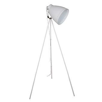 Italux Franklin - Industrie und Retro Stehleuchte weiß, Satin Nickel 1 Licht mit weißen Farbton, E27