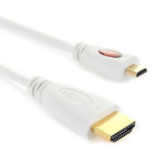 Kullattu micro HDMI uros HDMI uroskaapeli, 1.4 Versio, Pituus: 1m(Valkoinen)