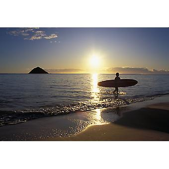 Hawaii Silhouetted Surfer On Shore At Sunrise Gold Light Island Background PosterPrint
