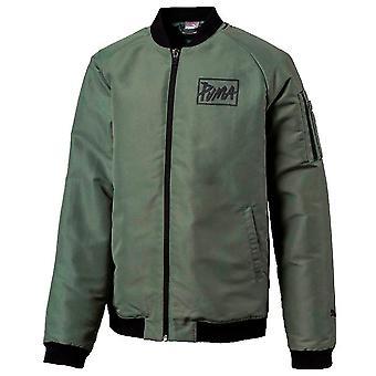 Puma Zip Up Crew Neck Long Sleeve Green Kids Bomber Jacket 854007 23