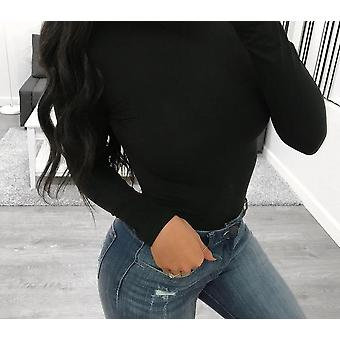 Čierny body oblek s dlhým rukávom