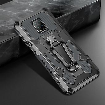 Funda Xiaomi Redmi Note 9 Pro Max Case - Magnetic Shockproof Case Cover Cas TPU Gray + Kickstand