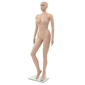 Sexy female mannequin with glass base beige 180 cm