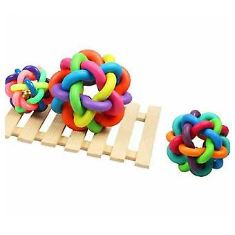 Dog Chew Toys Tough Strong Knot Bell Ball For Pet Puppy Teething