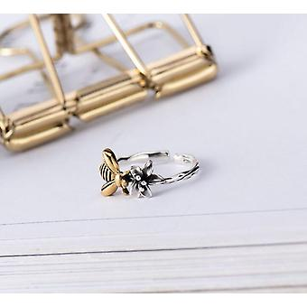 S925 Sterling Silber, Bienen-Design, verstellbarer Ring