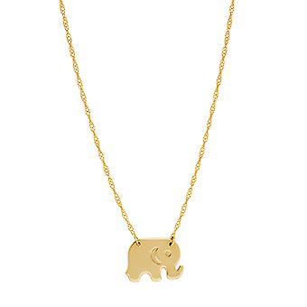 """14K gul guld Mini Baby elefant vedhæng halskæde, 16"""" til 18"""" justerbar"""