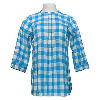 Joan Rivers Classics Collection Women's Top Buffalo Check Blue A275338