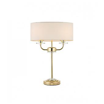 Nixon Lampe, Messing und Kristall, 2 Glühbirnen