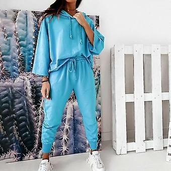 Solid Color Fashion Lace Drop Shoulder Sleeve Casual Women's Suit