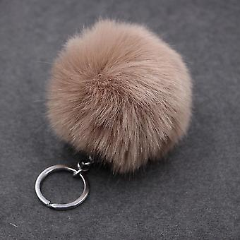 Purple Wool Ball Plush Keychain Pendant Pompom Artificial Animal Woman Car Bag