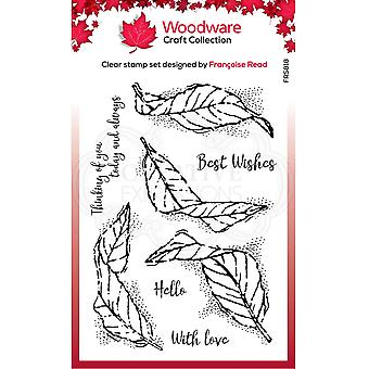Woodware Francoise Read Clear Singles Fluttering Leaves 4 in x 6 in Clear Stamp