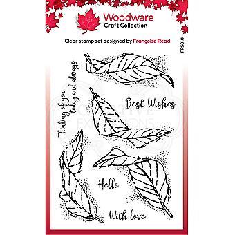 Woodware Francoise Lue selkeät sinkut lepattavat lehdet 4 x 6 kirkkaassa leimassa