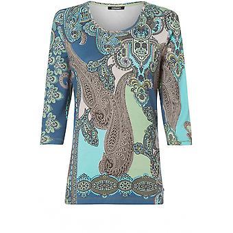 Olsen Paisley Print Jersey Top
