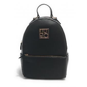 Liu-jo Sanv Backpack M In Black Faux Leather With Women's Logo Bs21lj13