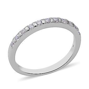 Elanza White Cubic Zirconia Engagement Trilogy Ring voor dames in zilver 0.08ct