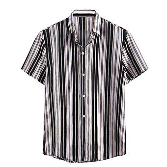 Swotgdoby Men's Striped Stylish Beautiful Short-sleeved Shirt