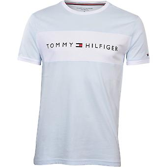 Tommy Hilfiger Logo Block Organic Cotton T-Shirt, Soft Blue