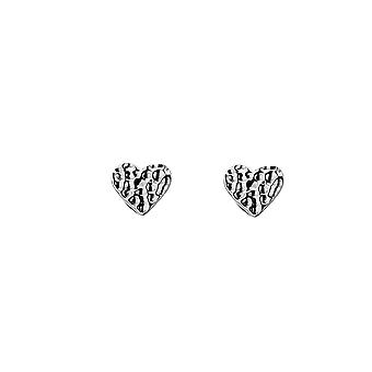 Sterling Silver Stud Earrings - Origins Heart Hammered V Small
