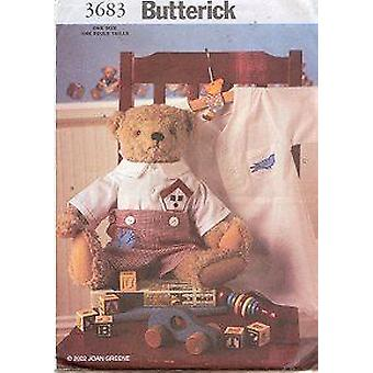 """Butterick Sewing Pattern 3683 17"""" Old Fashioned Teddy Bear & Clothes"""