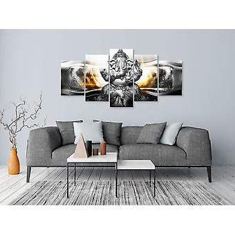 Painting - Buddha Style (5 Parts) Silver Wide100x50