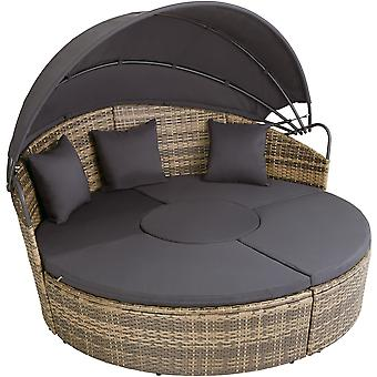 tectake Rund daybed med skygge i polyrattan