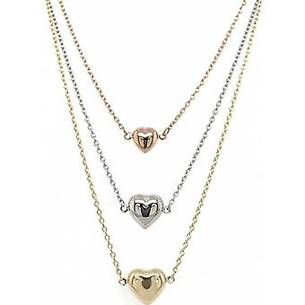Mark Milton Trio Heart Necklace - Gold/White Gold/Rose Gold