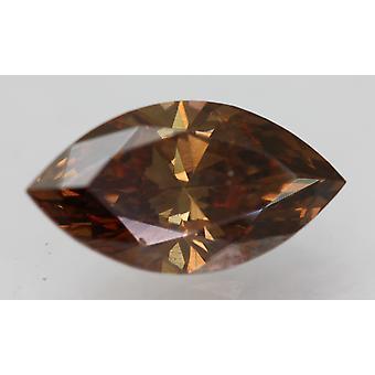 Cert 1,56 Karat Vivid Braun VVS1 Marquise Verbessert natürlichen Diamanten 11.16x6.04mm