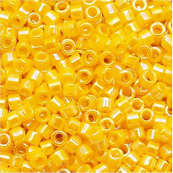 Miyuki Delica Seed Beads, 11/0 Size, 7.2 Grams, Opaque Canary AB Yellow DB1572