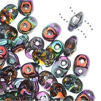 SuperDuo 2-Hole Tsjechische glazen kralen, Marea Peacock gecoate / goud, 2x5mm, 8g tube