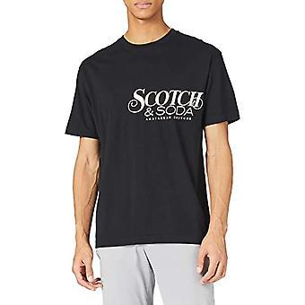 Scotch & Organic Soda Cotton-Jersey Crewneck t-Shirt met Borst Artwork, 0008 Zwart, XXL Heren