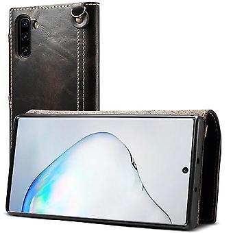 Étui de portefeuille en cuir véritable fente pour carte pour samsung note10plus noir no4322