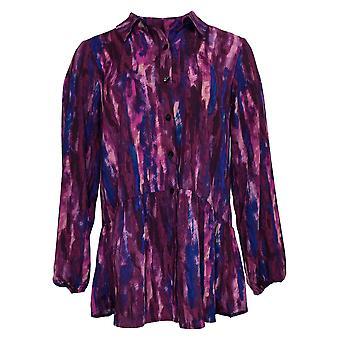 LOGO by Lori Goldstein Women's Top Button Front Blouse Purple A365840