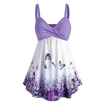 Lilla 3xl kvinder plus størrelse sommerfugl print tank top kjole cai1301