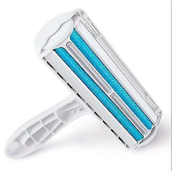 Blue pet hair remover, double-sided brush sticking device, multifunctional pet hair removal brush az8404