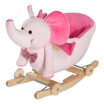 HOMCOM 2 In 1 Plush Baby Ride on Rocking Horse Elephant Rocker with Wheels Wooden Toy for Kids 32 Songs (Pink)