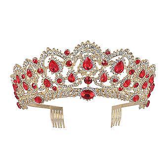 Luxo Vermelho Strass Coroa de Cristal Coroa de Noiva Tiaras Coroa Desaúmada Acessórios de Cabelo de Casamento Coroa Extravagante