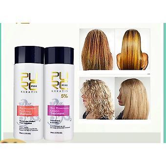 2pcs / مجموعة نقية البرازيلي الكيراتين إصلاح الشعر وتصويب منتجات الشعر الضرر