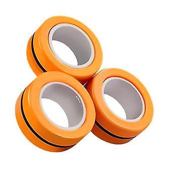 3pcs Anéis de dedo Magnético Fidget Brinquedos, Estresse Ansiedade Anel Mágico (Laranja)