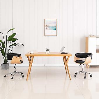 vidaXL chaises pivotantes à manger 2 pcs. en simili-faux noir
