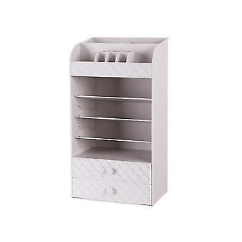 White Beauty Cosmetic Organiser Makeup Drawers Tray Display Box Case Storage Box
