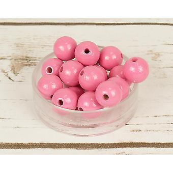 14mm Light Pink Wooden Threading Beads - 18pk