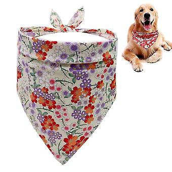 2 PCS Japanese Style Pet Triangle Towel Dog Saliva Towel Scarf(Beige)