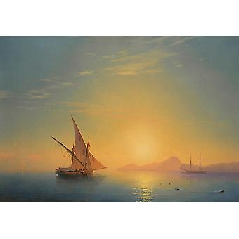 Wallpaper Art Mural Sunset Over Ischia by Ivan Aivazovsky