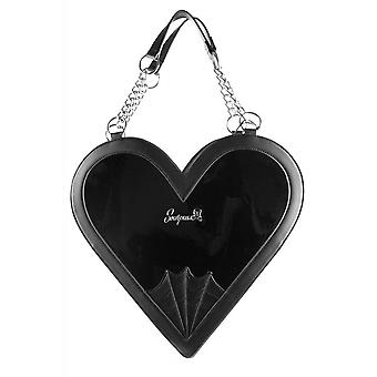 Sourpuss Clothing Heartbreaker Black Gloss Handbag