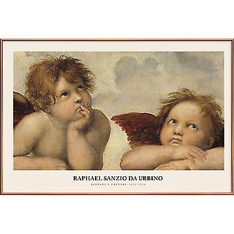 JUNIQE Print -  Raphael - Raphael's Cherubs - Klassische Kunst Poster in Braun & Cremeweiß