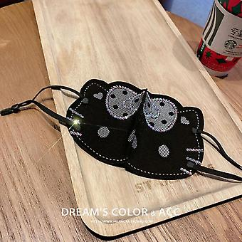 Adult Sunscreen Dustproof Fashion Decoration Mask Lolita Cute Kitty Pattern Set With Diamond Thin Breathable Mask For Women