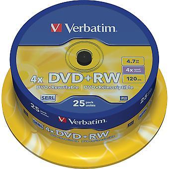 Verbatim DVD+RW, 1-4x, 4.7GB/120 min, ax 25-pack, SERL