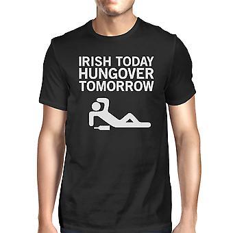 Irish Today Hungover Tomorrow Men's Black T-shirt Witty Irish Shirt