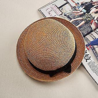 Womens panama summer beach hat(56-58cm)(Khaki 2)