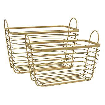 Plutus Brands Metal Basket -set Of 2 in Gold Metal